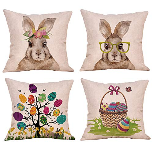Ueerdand 4 Pack Easter Rabbit Eggs Throw Pillow Covers 18 x 18 Inch New Spring Flowers Tree Home Office Decorative Cotton Linen