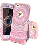 iPhone 6 Cases, iPhone 6S Case, SKYLMW Hard PC Shell with Soft Silicone Hybrid iPhone 6 Covers Protective 3 Piece Shockproof Anti-Scratch Combo Cover for iPhone 6/6S 4.7 Inch Mandala Rose Gold