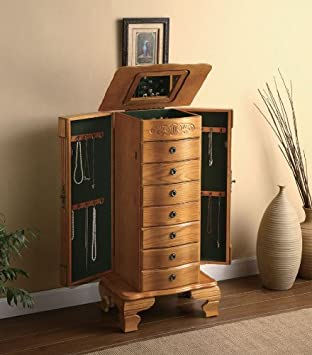Amazoncom item Deluxe jewelry armoire in light oak finish wood