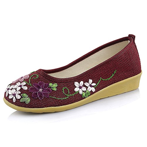 brand new 00829 1aa01 Women s embroidered shoes Spring national style style style casual shoes (  Color   Red , Size