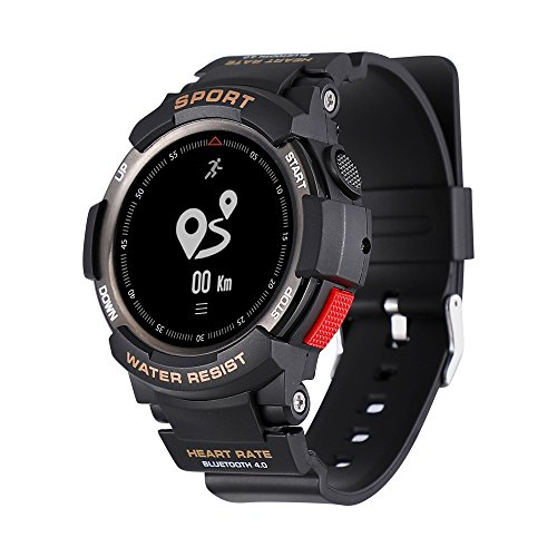 NO.1 F6 GPS Smartwatch NRF51822 Chip IP68 Waterproof Sleep Monitor Remote Camera Health Tracker for Android IOS (Black)