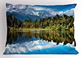 Lunarable Landscape Pillow Sham, Mirror Reflection on Lake by The Forest with Cloudy Sky in Southern Alps, Decorative Standard King Size Printed Pillowcase, 36 X 20 inches, Green Blue White
