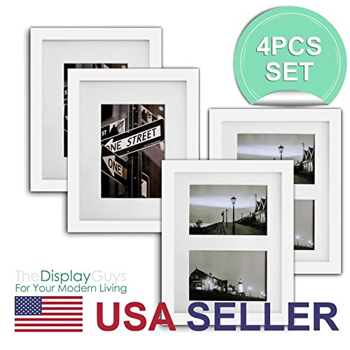 The Display Guys~ 4 Sets 8x10 inch White Solid Pine Wood Pho