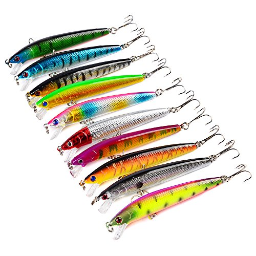 Tenoh Minnow Fishing Lures Bass Baits,10pcs/lot 9.5cm 3.74'' 3D Fishing Hard Minnow Life-like Swimbait Topwater Crankbait Tackle for Pikes/Bass/Trout/Walleye/Redfish/Catfish/Grouper/Luce (10 Pack)