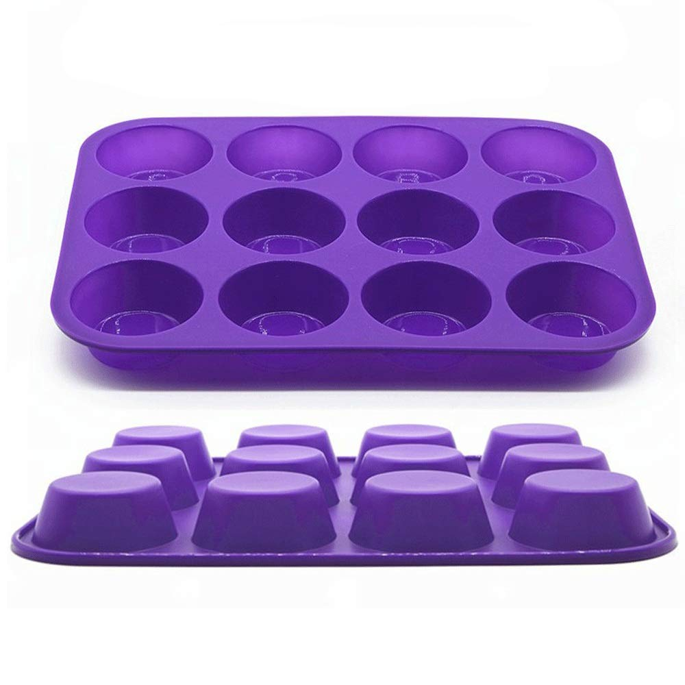 Baking Cup Mould Silicone Cupcake Liners Reusable Baking Cups Nonstick Easy Clean Pastry Muffin Molds 12 Shapes Round(Set Of 2) Cupcake Molds, ( Color : Blue or Purple or Red , Size : Free Size ) by Jeterndy