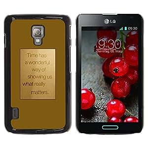 Paccase / SLIM PC / Aliminium Casa Carcasa Funda Case Cover para - Motivation Motivational Gold Text - LG Optimus L7 II P710 / L7X P714