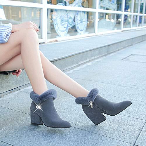 Hauts Neige Mode Pour Antidérapante À Lacets Bottes Hiver Oyedens Bottines Chaussures Femme Hautes Carrées De Femmes Talons Gris Équitation Compensées Glissièee FTZqHT