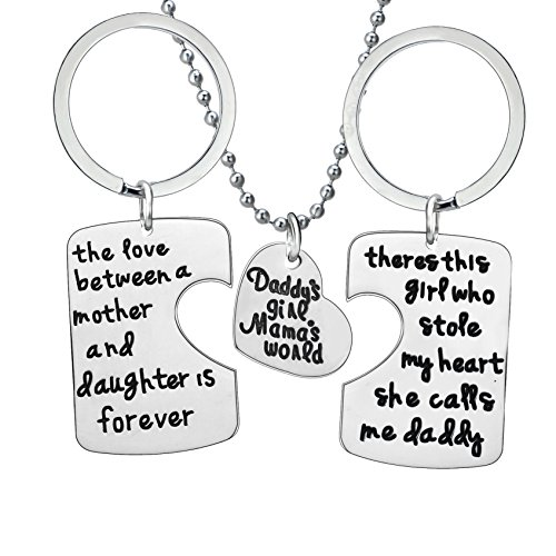 BESPMOSP Set of 3 Daddy's Girl Mommy's World Keychain Necklace Set, Gift for Daughter, Mums Mom - Show Is Fashion Mall Where