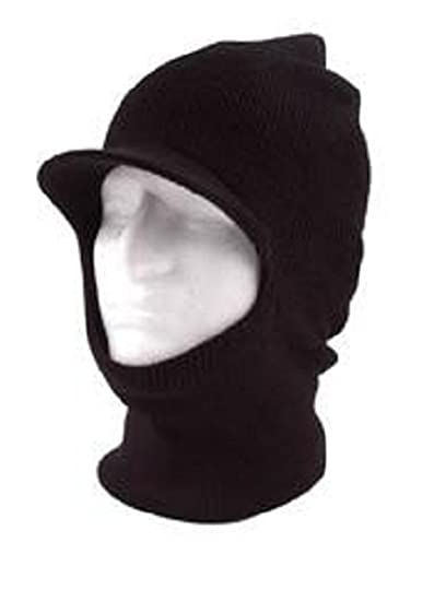b725ca624d9 Image Unavailable. Image not available for. Color  Black Knit One 1 Hole  Visor Balaclava ...