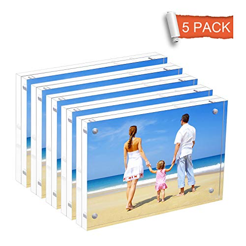 NIUBEE 5 Pack Acrylic Picture Frames 5x7 inches, Clear Double Sided Magnetic Photo Block Frame, Frameless Desktop Display with Retail Gift Box Package (Frame Picture Money)