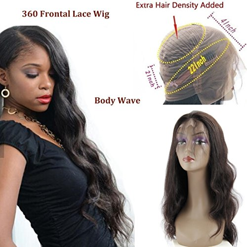 150% Density 360 Lace Frontal Wigs-Body Wave Brazilian Full Frontal Lace Human Hair Wigs for Black Women Pre Plucked Natural Hairline with Baby Hair Natural Color (14'') by QUEENA