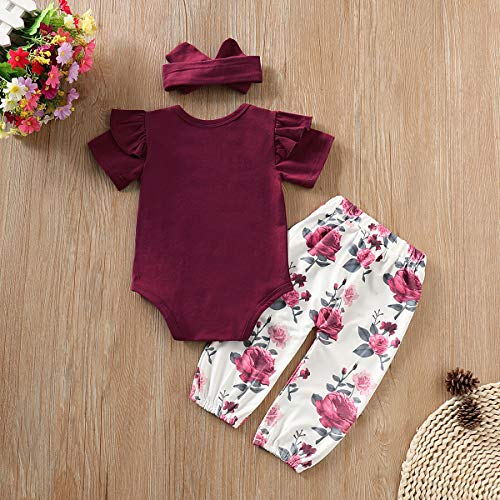 774e221589435 3PCS Infant Toddler Baby Girl Clothes Ruffle Romper Tops Bodysuit + Floral  Halen Pants + Headband Outfit Set (Y Wine red(Short Sleeve), 0-6 Months)