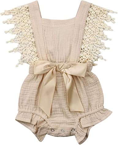VISGOGO Kids Baby Girl Princess Off-Shoulder Flower Stripe Lace Romper Bodysuit Jumpsuit Outfits