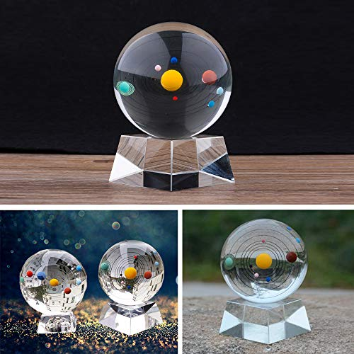 Spar.saa Crystal Solar System Crystal Ball with Crystal Stand ()