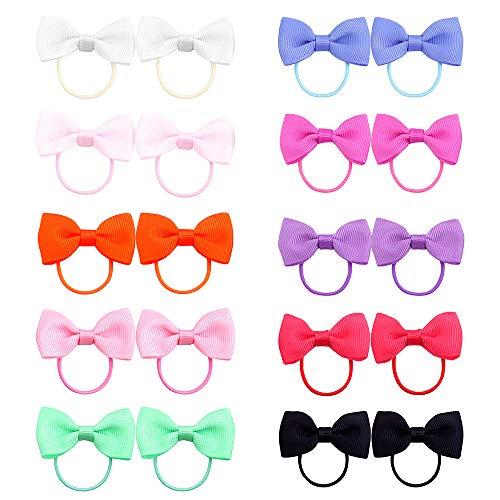 Belle Beau Baby Girls Bow Elastic Ties,Ponytail Holders,Hair Bands,Hair Elastics,Value Set (B)