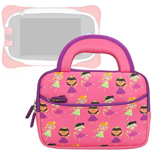 Diagonal Rca Lcd (Evecase Neoprene Sleeve Protective Case Compatible with Nabi Jr. , Cute Princess Themed Neoprene Travel Carrying Slim Sleeve Case Bag w/ Dual Handle and Accessory Pocket - Pink w/ Purple Trim)