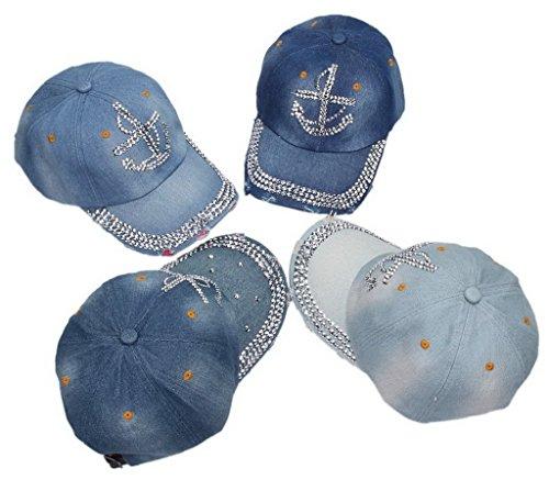 (ビグッド) Bigood キャップ カジュアルキャップ ベースボールキャップ 野球帽 ダメージ加工 イカリ柄ラインストーン 帽子 メンズ レディース兼用 色がランダム 単品