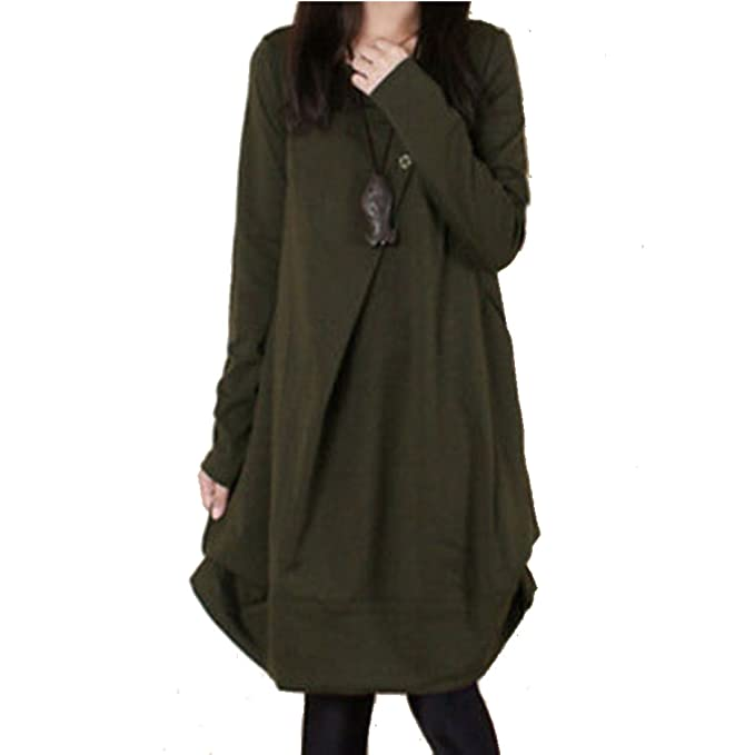 976e204baf01 Boho Women Cotton Linen Dress Loose Skirt Long Tunic Long Sleeve Spring