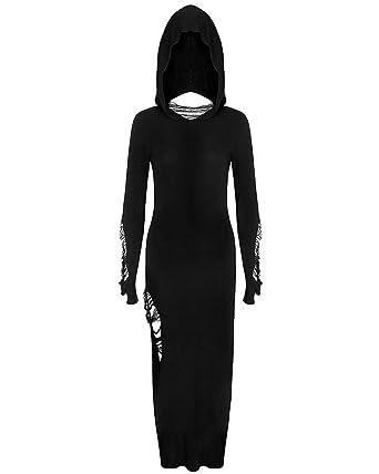 Killstar Nu War Hooded Maxi Dress Black Long Sleeve Goth Grunge
