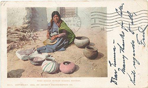 Historic Pictoric Postcard Print | Moki Indian Woman Making Pottery, 1899 | Vintage Fine ()