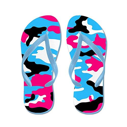 Cafepress Rosa Camo - Flip Flops, Roliga Rem Sandaler, Strand Sandaler Caribbean Blue