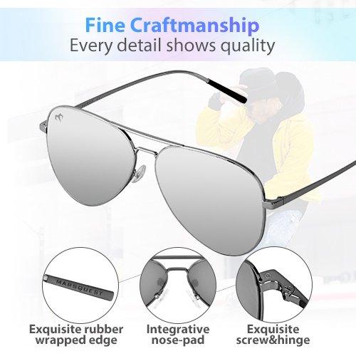 f6c25cb201d Polarized Aviator Sunglasses - Force Durable Mirrored Lens For Mens Womens  UV400 - Grey - Medium  Amazon.co.uk  Clothing