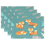 Fox Forest Woods Place Mat Table Mat for Kitchen Dining Room Heat Insulation Anti-skid Home Decor by MOCK ST Place Mat 12 x 18 inches Set of 6