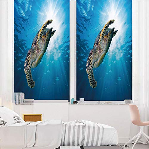 Turtle 3D No Glue Static Decorative Privacy Window Films, Hawksbill Sea Turtle Dive Deep Into The Blue Ocean Against Sun Rays,24