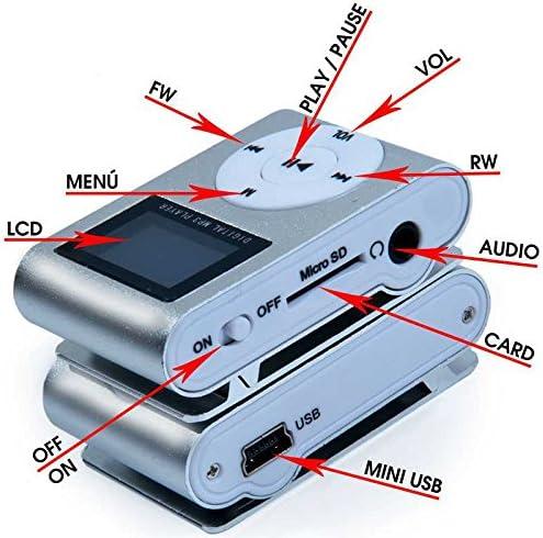 Ociodual Metall Clip MP3 Stereo blau Mini Player FM Radio LCD Display Micro SDHC MicroSD Blau