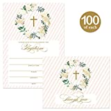 Baptism Invitations ( 100 ) & Matching Thank You Cards ( 100 ) with Envelopes, Large Family Church Baby Christening Celebration, Gold Roses Fill-in Invites & Folded Thank You Notes Best Value Pair