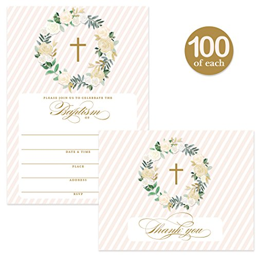 Baptism Invitations ( 100 ) & Matching Thank You Cards ( 100 ) with Envelopes, Large Family Church Baby Christening Celebration, Gold Roses Fill-in Invites & Folded Thank You Notes Best Value Pair by Digibuddha