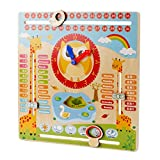 Blesiya Wooden Animal Zoo Clock Kid`s Educational Date Weather toy for boys girls