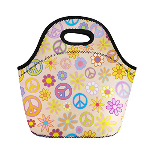 (Semtomn Lunch Tote Bag Colorful Power of Flowers and Peace Signs Intermingled Pattern Reusable Neoprene Insulated Thermal Outdoor Picnic Lunchbox for Men Women )