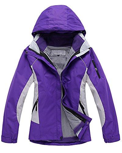 Vestes Femelle Etanche 3 en 1 Intrieur dtachable Veste de Ski Randonne Manteau Violet