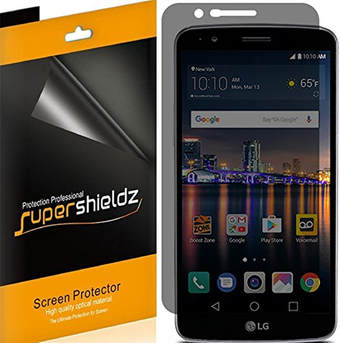 [2 Pack] Supershieldz- Privacy Anti-Spy Screen Protector Shield for LG Stylo 3 -Lifetime Replacements Warranty - Retail Packaging