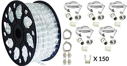 (AQL AQLighting Dimmable Cool White LED Rope Light Deluxe Kit, 120 Volts, 150ft/Roll, Commercial Grade Indoor/Outdoor Rope Light, IP65 Waterproof)