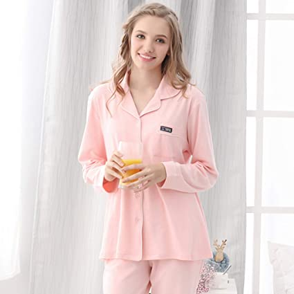 1f60fe6a38 Nightgowns Pajamas Korean Version of The New Spring Couple Cotton Pajamas  Women Autumn and Winter Cardigan