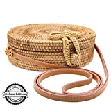 RATTAN NATURALS Handwoven Round Rattan Crossbody Bag| DELUXE EDITION | Round Straw Bag for Women | Genuine 100% Leather Shoulder straps | Straw purse For Women | Boho bag | Straw Handbag for Women