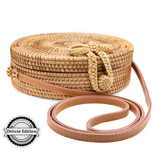RATTAN NATURALS Handwoven Round Rattan Crossbody Bag| DELUXE EDITION | Round Straw Bag for Women | Genuine 100% Leather Shoulder straps | Straw purse For Women | Boho bag | Straw Handbag for Women by Rattan Naturals