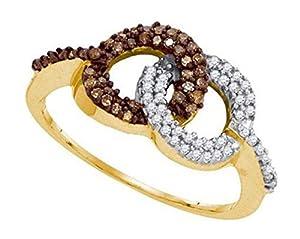 0.33 cttw 10k Yellow Gold Brown Diamond Interlocking Circles Promise Engagement Ring
