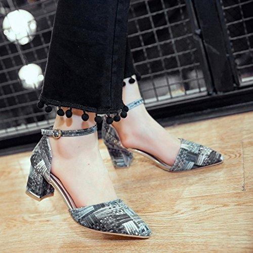 COOLCEPT Mujer Moda Puntiagudo Al Tobillo Chunky Tacon Sandalias Chicas Colegio Zapatos Gris
