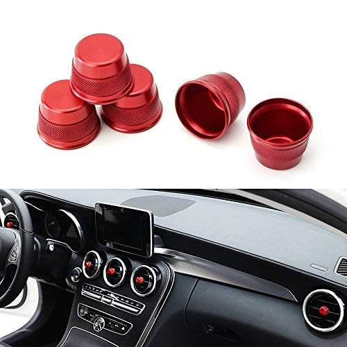 iJDMTOY 5pc Sports Red Aluminum Air Conditioner Vent/Opening Knob Decoration Covers Compatible With 2015-up Mercedes W205 C-Class, 2016-up GLC Class