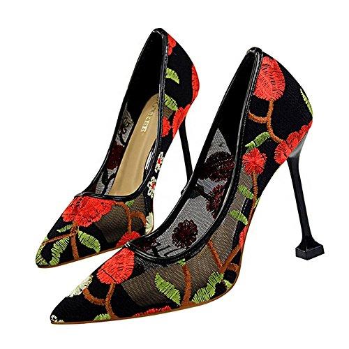 Tacón ZHANGYUSEN Retro Zapatos Encaje Ahuecó Vestido Noche Alto de de Moda Bien Zapatos los bordado Tacón Superficial Bordado de Gasa de rojo Verano Flor Puntiagudo Zapatos Alta wpqw6r