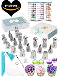 69pc Cake Decorating Supplies Kit- Quick'nEasy 3in1 Russian Piping Tips Set, Icing Bags, User Guide, Cupcake Wrappers In a Cute Gift Box. Great For Making Flower Frosting and Baking Memories Together