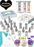 (69pc) Quick'nEasy Cake Decorating Supplies Kit - 3in1 Russian Piping Tips Set, Icing Bags, User Guide, Cupcake Wrappers In Cute Gft Box. Perfect for Making Flower Frosting | Baking Memories Together