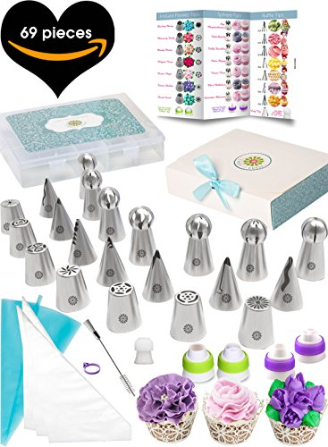 (69pc) Quick'nEasy Cake Decorating Supplies Kit - 3in1 Russian Piping Tips Set, Icing Bags, User Guide, Cupcake Wrappers In Cute Gft Box. Perfect for Making Flower Frosting | Baking Memories Together -