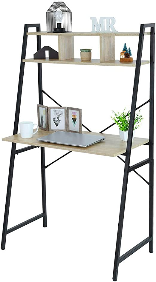 Amazon Com Hstore Computer Desk With Hutch Bookshelf Home Office Desk Workstation With Space Saving Design For Small Spaces Black Metal Frame Kitchen Dining
