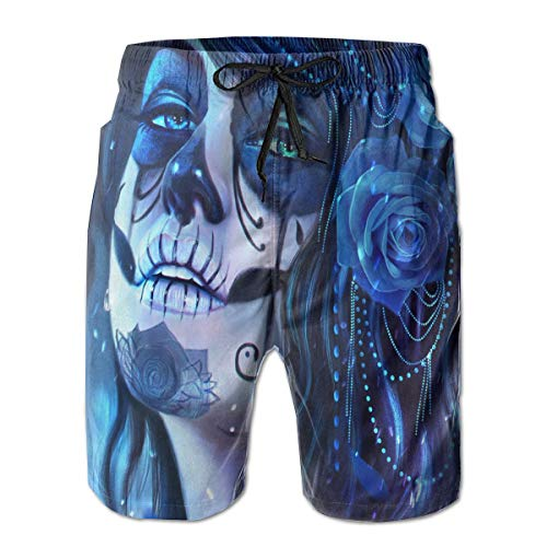 NICOKEE Cool Swim Trunks for Men, Face Paint Sugar Skull and Flowers Summer Quick Dry Beach/Board Shorts -