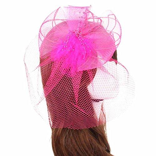 Aniywn Hot Sale! Wedding Fascinator Veil Feather Hard Yarn Headband Hats Women Brides Hair Access (Free Size, - Fox Dyed Fur Red