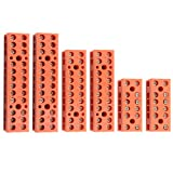 XLX 6Pcs 600V 36A 6 Position 10 Position 12 Position Double Row Screw Terminal Block Environmental Friendly Flame Retardant Nylon Terminal Barrier Block Connector (Red)